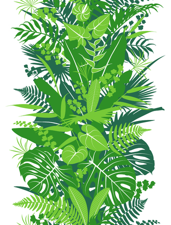 Seamless line vertical pattern with tropical plants silhouette. Green  foliage texture with leaves in row. Vector flat illustration.