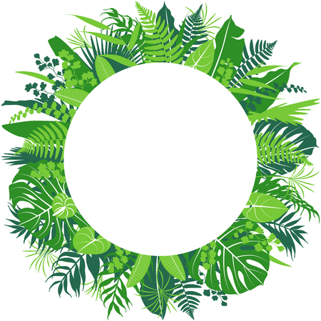 Tropical leaves round frame border isolated on white. Floral arrangement with monstera, fern, palm fronds. Summer background with green exotic plants and space for text. Vector flat illustration. Ilustracja