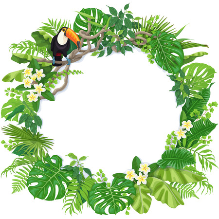 Tropical leaves round frame and toucan sitting on liana branch. Summer background with bird, exotic plants and space for text. Stock Illustratie