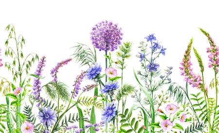 Frontera sin costuras horizontal floral dibujado a mano con flores silvestres de acuarela. Patrón de verano con flores azules, rosas y lilas en fila sobre fondo blanco.