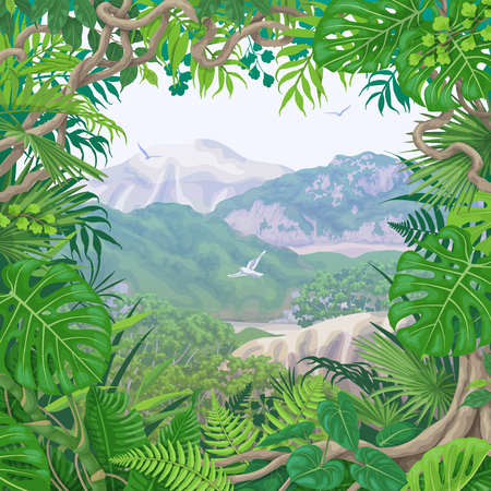 Summer background with green leaves of tropical plants and liana branches. Jungle frame on hills, flying birds and distant trees. Tropic rainforest foliage border. Vector flat illustration.