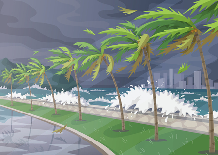 Beginning of storm in ocean, huge waves, dark sky, palm trees on high wind along coast. Tropical landscape during natural disaster. Hurricane incoming vector flat illustration.