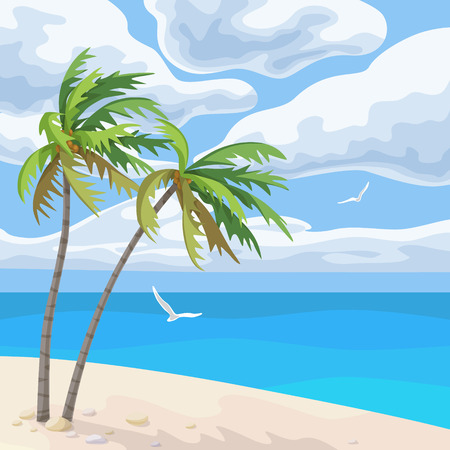 Seaside landscape with palm trees, ocean, culumus clouds in sky and flying seagulls. Tropical beach vector flat illustration. Illustration