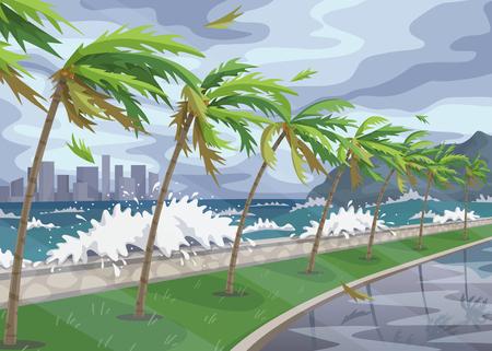 Paesaggio balneare con tempesta nell'oceano, onde enormi e palme con vento forte lungo la costa. Uragano di disastro naturale in arrivo sull'illustrazione piana di vettore del mare.