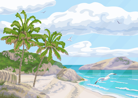 Seaside calm landscape with palm trees, ocean, clouds in sky and flying seagulls. Background with sea coast, small waves and distance island. Tropical beach vector flat illustration.