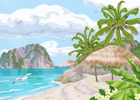 Seaside landscape with palm trees, parasol,  ocean, clouds in sky and flying seagulls. Background with sea coast, small waves and distance island. Tropical beach vector flat illustration. Illustration