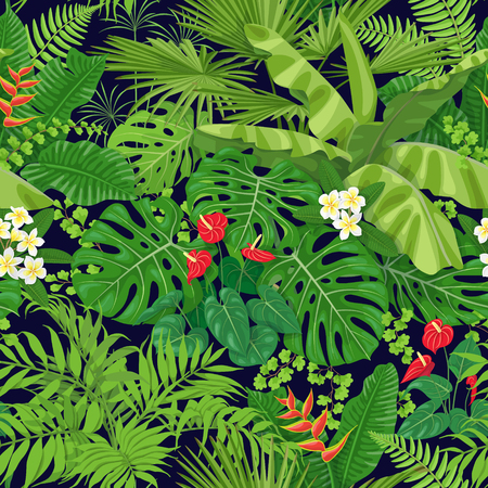 Seamless pattern made with tropical leaves and flowers on dark background. Bunches of green exotic plants and palm fronds. Rainforest foliage texture.  Vector flat illustration.