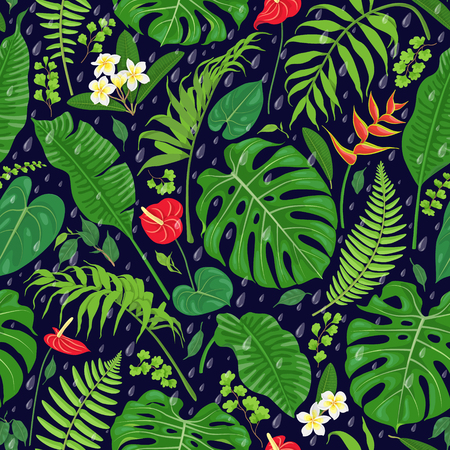 Seamless pattern with tropical leaves, flowers  and falling rain drops on dark background. Tropic rainforest foliage texture. Vector flat illustration.