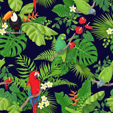 Naadloze patroon gemaakt met tropische vogels, bladeren en bloemen op donkere achtergrond. Kleurrijke papegaaien en toekan zittend op takken. Tropic regenwoud gebladerte textuur. Platte vectorillustratie. Vector Illustratie