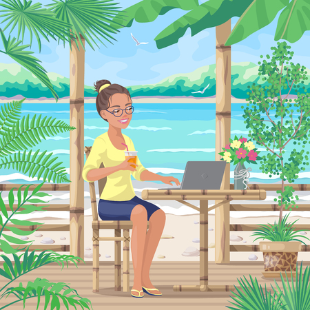 Pretty smiling girl in glasses sits on terrace near tropical sea beach. Young woman drinks juice and works on laptop computer. Theme of freelance work, vacation and travel. Vector flat illustration.