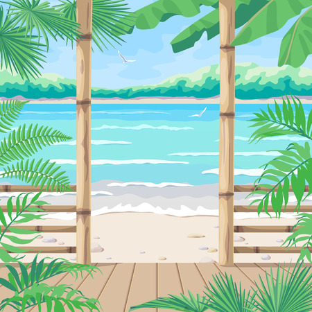 Summer background with tropical landscape. View from terrace on sea coast, flying birds and distant tree. Theme of vacation, travel and beach bar or cafe. Vector flat illustration. Ilustração