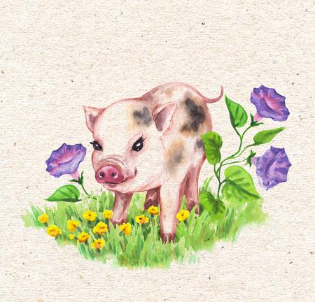Maiale in miniatura carino disegnato a mano che cammina sull'erba verde vicino a fiori di campo. Carta d'epoca con acquerello giallo, fiori lilla e buffo animale.