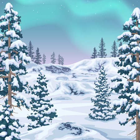 Northern view with aurora borealis. Polar light in starry sky. Winter landscape background with snow covered fir-trees and   glaciers. Vector flat illustration. Stock Illustratie