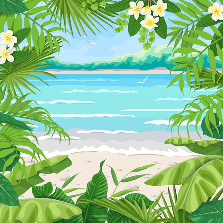 Summer background with tropical plants. Square floral frame on sea coast landscape. Tropic foliage border on seascape beach, waves, pebble, birds and distant trees. Vector flat illustration.
