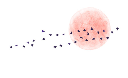 Watercolor painting. Hand drawn illustration. Red moon and flying birds isolated on white background. Nature landscape design elements.
