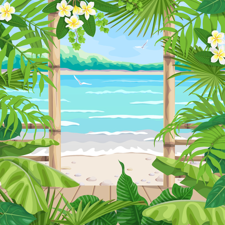 Summer background with tropical landscape. View from terrace on seaside, flying birds and distant tree. Theme of vacation, travel and beach bar or cafe. Vector flat illustration.