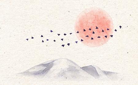 La peinture à l'aquarelle. Illustration dessinée à la main avec des montagnes, une lune rouge et des oiseaux en vol sur fond de texture de papier ancien. Carte vintage avec scène de la nature. Banque d'images