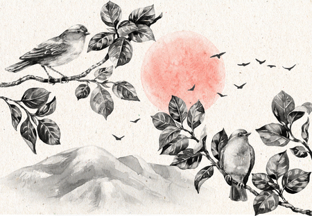 Watercolor painting.  Hand drawn illustration. Nature scene with dawn and birds sitting on tree branches. Old paper texture. Monochrome vintage postcard with serenity landscape, mountains and flying birds.