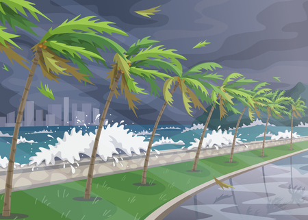 Seaside landscape during storm in ocean, huge waves and palm trees on high wind along coast. Natural disaster hurricane incoming on sea vector flat illustration.