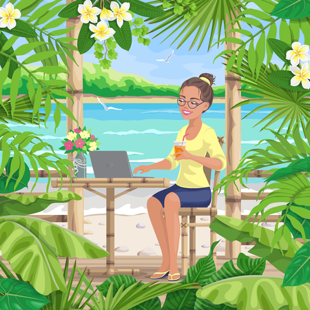 Pretty girl in glasses sits on terrace near tropical sea beach. Happy young woman drinks juice and works on laptop. Theme of freelance, remote work, vacation and travel. Vector flat illustration. Archivio Fotografico - 114981964