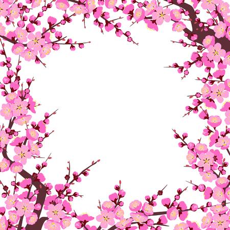 開花木の枝で作られた正方形のフレームは、白い背景にピンクの花で撮影します。 梅の花は春のシンボルです。中国の旧正月のための花の装飾。ベ