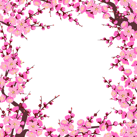 Square frame made with flowering tree branches and shoots with pink flowers on white background.  Plum blossom is a symbol for spring. Floral decoration for Chinese New Year. Vector flat illustration. Vettoriali