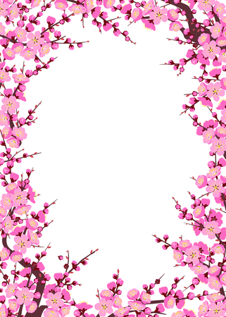 Rectangle vertical frame made with flowering tree branches and shoots with pink flowers on white background.  Plum blossom is a symbol for spring. Floral decoration for Chinese New Year.