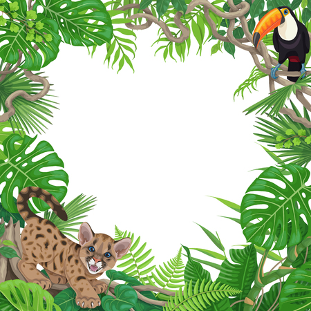 Tropischer Hintergrund mit Monster-, Palmen- und Farnblättern. Blumenrahmen mit lustigem wütendem Pumajunges und Tukan, die auf Lianenzweig sitzen. Platz für Text. Flache Illustration des Regenwaldlaubrandvektors. Vektorgrafik