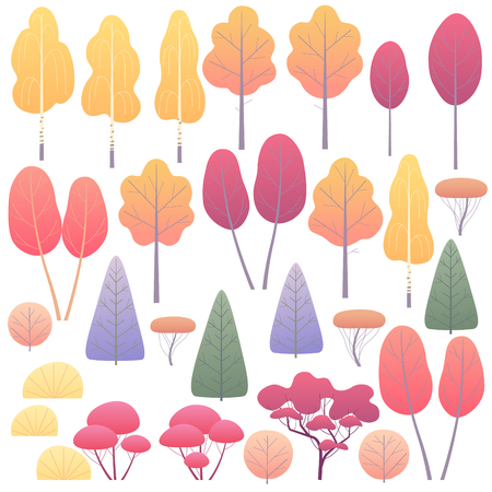 Various trees and bushes set. Simple autumn plants isolated on white. Landscape element design. Vector flat illustration. Imagens - 112276485