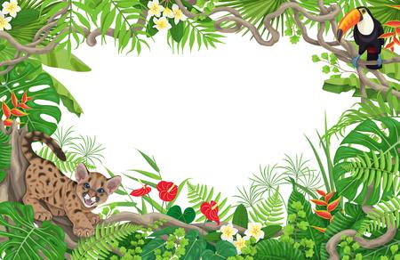 Sommerhintergrund mit tropischen Pflanzen und Tieren. Horizontaler Blumenrahmen mit lustigem wütendem Pumajunges und Tukan auf Lianenzweigen. Platz für Text. Flache Illustration des Regenwaldlaubrandvektors.