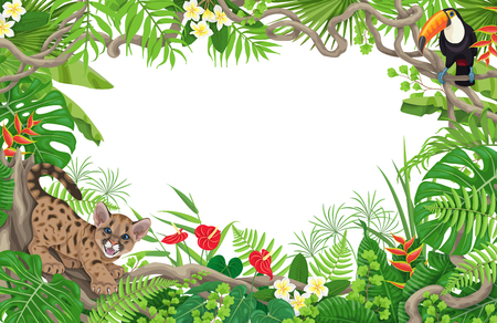 Summer background with tropical plants and animals. Horizontal floral frame with funny angry puma cub and toucan on liana branches. Space for text. Rainforest foliage border vector flat illustration.
