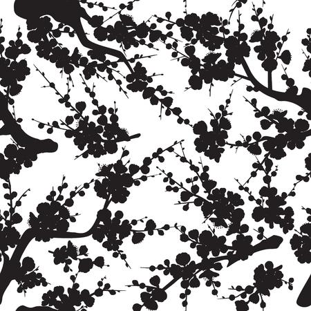Nahtloses Muster mit schwarzer Silhouette von blühenden Ästen und Trieben mit Blumen und Knospen auf weißem Hintergrund. Monochrome Textur mit Pflaumenblüte. Vektorgrafik