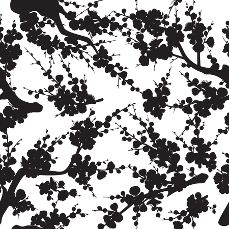 Seamless pattern made with black silhouette of flowering tree branches and shoots with flowers and buds on white background.  Monochrome texture with plum blossom.