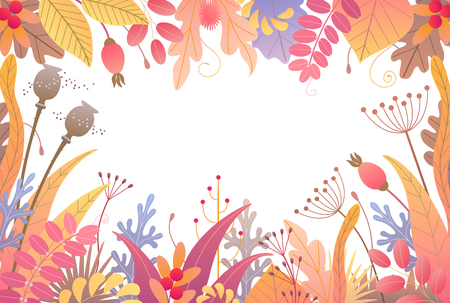 Rectangle horizontal frame made with colorful leaves, dried grass and berries on white background. Floral border with simple elements of autumn plants. Vector flat naive illustration.