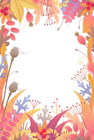 Rectangle vertical frame made with colorful leaves, dried grass and berries on white background. Floral border with simple elements of autumn plants. Vector flat naive illustration.