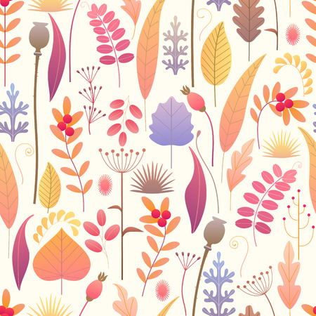 Seamless pattern made with colorful leaves, dried grass and berries on light background. Endless texture with simple elements of autumn plants. Vector flat naive floral decoration. Ilustração