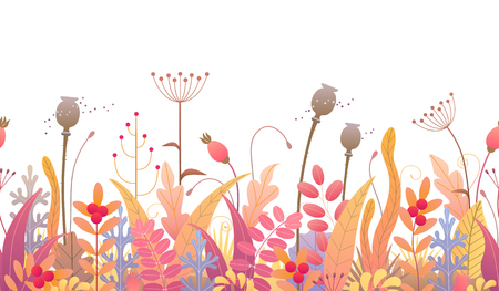 Seamless line horizontal pattern made with colorful leaves, dried grass and berries on white background. Endless horizontal row with simple elements of autumn plants. Vector flat floral decoration.