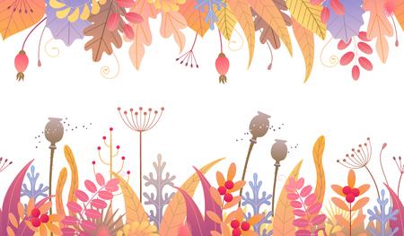 Nahtlose Linie horizontales Muster aus bunten Blättern, getrocknetem Gras und Beeren auf weißem Hintergrund. Endlose Bordüre mit einfachen Elementen von Herbstpflanzen in zwei Reihen. Vektor flache Blumendekoration.