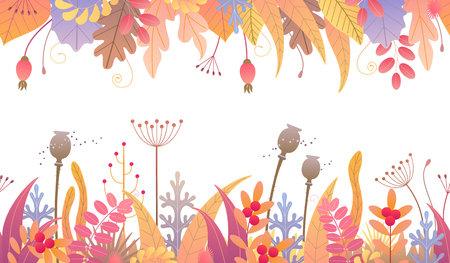 Seamless line horizontal pattern made colorful leaves, dried grass and berries on white background. Endless border with simple elements of autumn plants in two rows. Vector flat floral decoration.