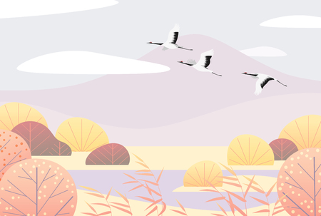 Nature background with wetland scene and flying Japanese cranes. Autumn landscape with mountains, autumn trees, reed and birds.  Vector flat naive illustration. Banque d'images - 108775022