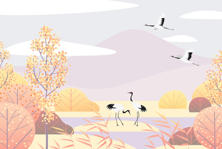 Nature background with wetland scene and Japanese red-crowned cranes. Autumn landscape with mountains, trees, reed and birds.  Vector flat naive illustration.