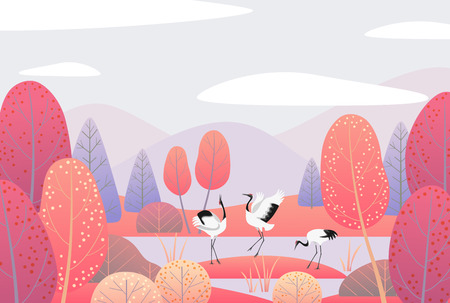 Nature background with wetland landscape  and dancing Japanese cranes. Autumn scene  with mountains, clouds,  red trees and birds.  Vector flat naive illustration. Иллюстрация