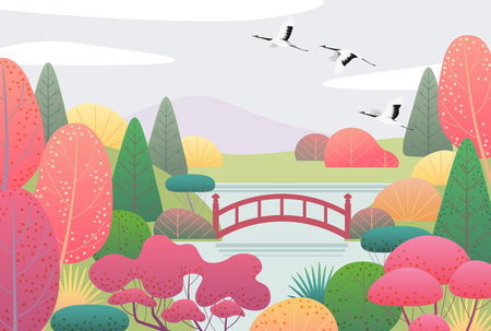 Nature background with japanese garden and flying cranes. Autumn scene with simple red, yellow, green plants, trees, mountain, bridge, clouds and birds.  Vector flat illustration. Stock Illustratie