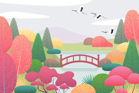 Sullo sfondo della natura con giardino giapponese e gru volanti. Scena autunnale con semplici piante rosse, gialle, verdi, alberi, montagne, ponti, nuvole e uccelli. Vector piatta illustrazione. Vettoriali