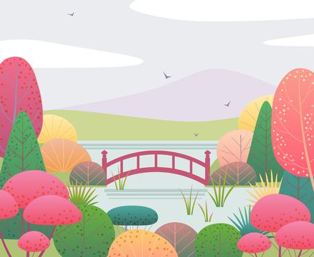 Fondo de naturaleza con jardín japonés y puente rojo. Escena de otoño con coloridas plantas, árboles, montañas, nubes y pájaros. Ilustración de estilo plano de vector.