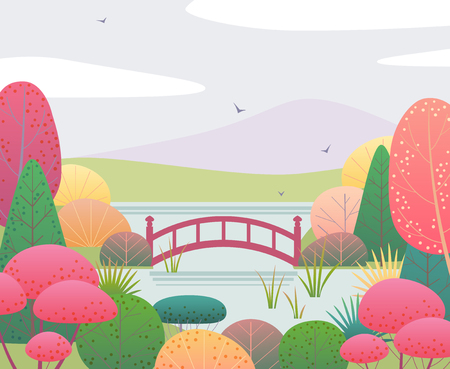 Nature background with japanese garden and red bridge. Autumn scene with colorful plants, trees, mountain, clouds and birds. Vector flat style illustration.