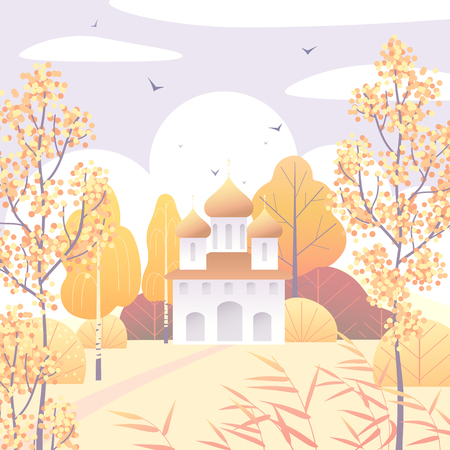 Rural scene with church, clouds, autumn trees, reed  and flying birds.  Nature background with simple  landscape. Vector flat illustration.