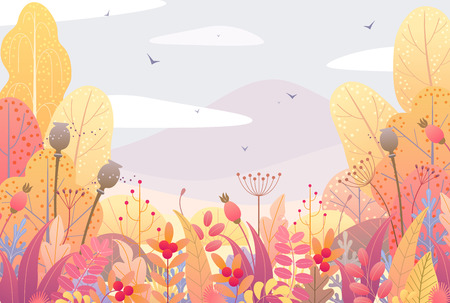 Rectangle horizontal nature background with trees, bushes, colorful leaves, dried grass and berries. Floral border with simple plants above autumn landscape. Vector flat style fall foliage decoration. Illustration
