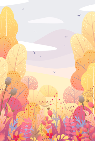 Rectancle vertical nature background with trees, colorful leaves, dried grass and berries. Floral border with simple plants above autumn landscape. Vector flat fall foliage decoration. Illustration