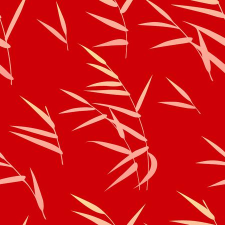 Modèle sans couture fait de roseau doré sur fond rouge. Texture sans fin avec des éléments simples de plante d'automne. Décoration florale naïve plate de vecteur.
